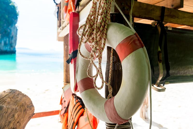 Close-up of a life buoy against the background of the bay. Of the sea stock image