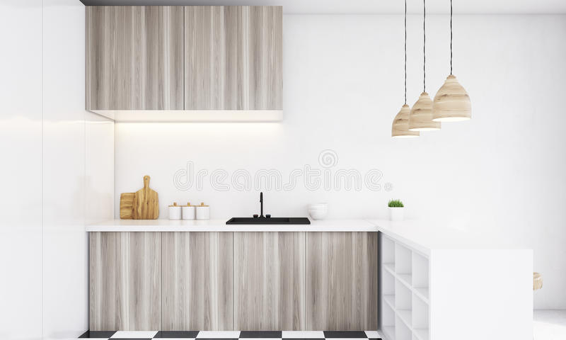 Close up of light wood kitchen counter on a bright day royalty free illustration