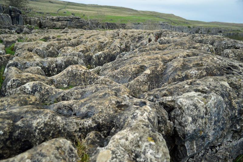 Close up of limestone pavement above malham cove stock images