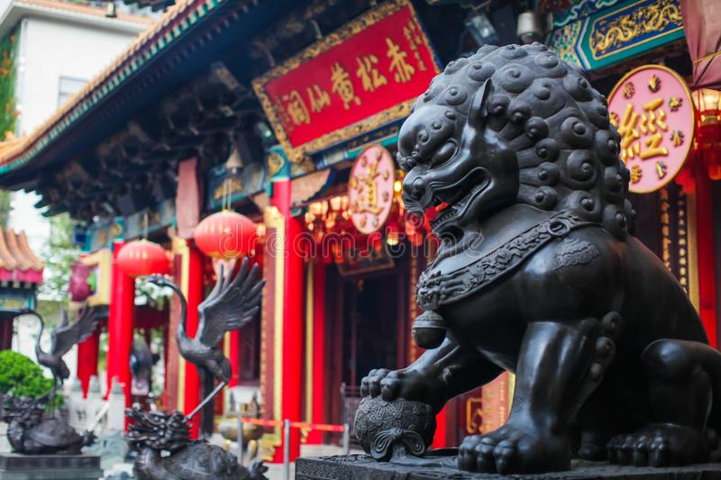 Close up Lion Guardian bronze sculpture at the Sik Sik Yuen Wong Tai Sin Temple in Kowloon, Hong Kong. stock photography