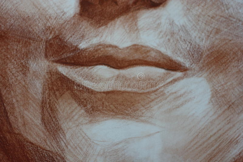 Close up lips of a woman portrait head pastels stock image