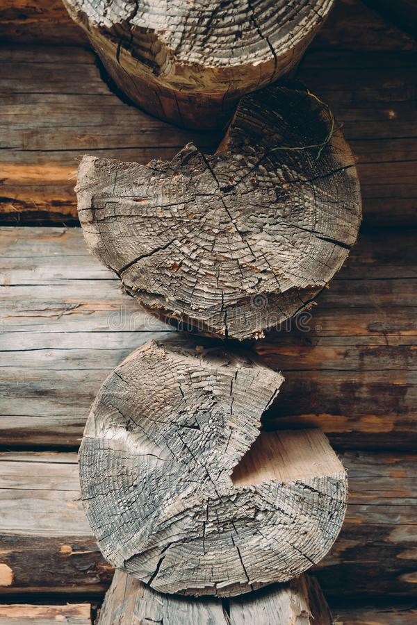 Log cut surfaces of old traditional wooden log house. Close up of log cut surfaces of old traditional wooden log house royalty free stock images