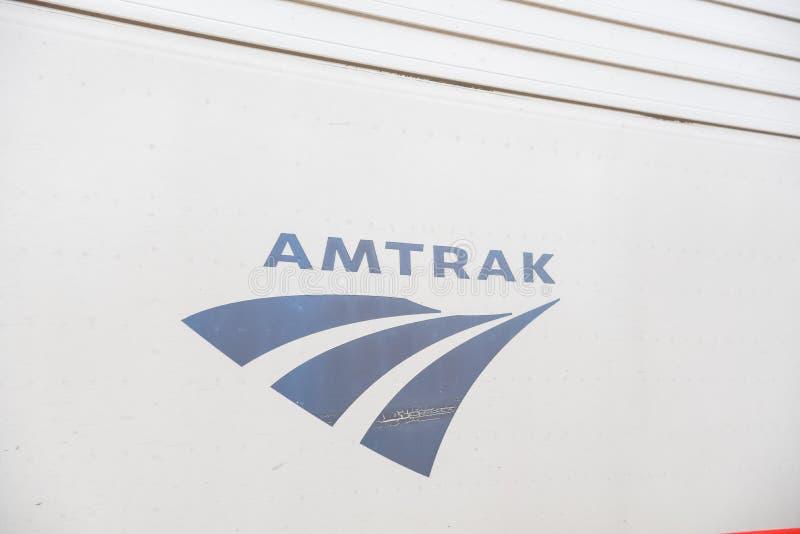 Close-up logo of Amtrak or National Railroad Passenger Corporation royalty free stock images