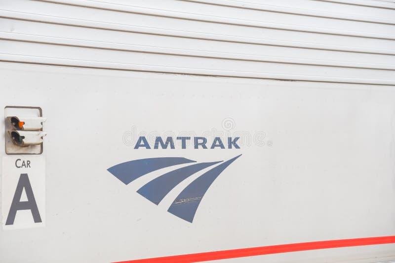 Close-up logo of Amtrak or National Railroad Passenger Corporation stock photos
