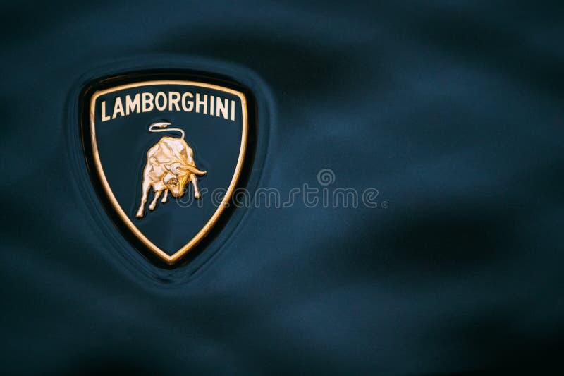 Close Up Logo Of Lamborghini On Dark Blue Background Editorial Stock