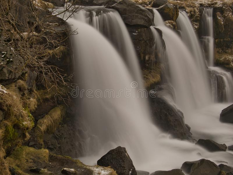 Close-up with long time exposure of Gluggafoss. A close-up of the Gluggafoss waterfall in Iceland with long exposure time royalty free stock photos