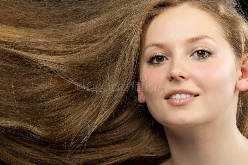 Close up longo bonito saudável do cabelo fotografia de stock