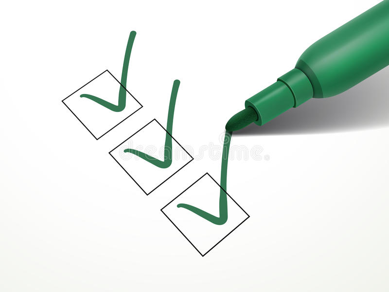 Close-up look at green pen. Marking on the check box over white paper vector illustration