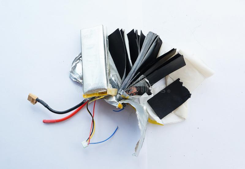 Inside the lithium polymer lipo battery. Close-up look at lithium polymer lipo battery royalty free stock photography