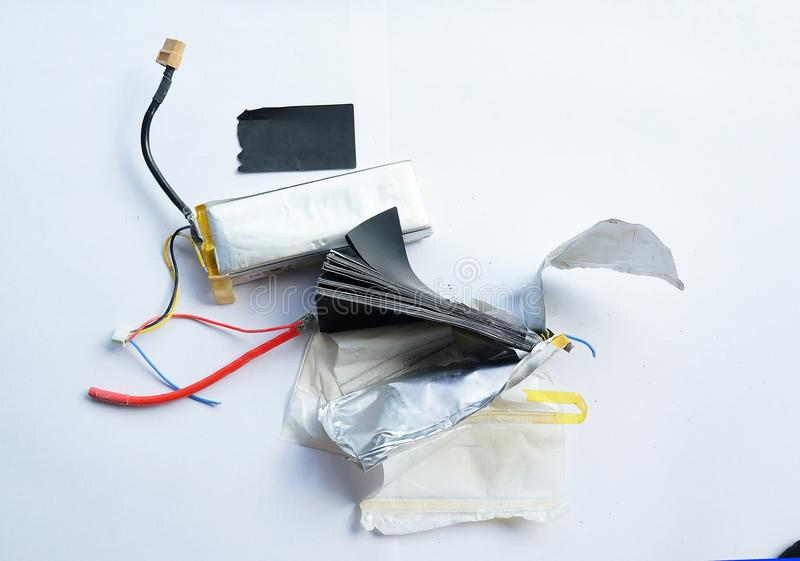 Inside the lithium polymer lipo battery. Close-up look at lithium polymer lipo battery stock images
