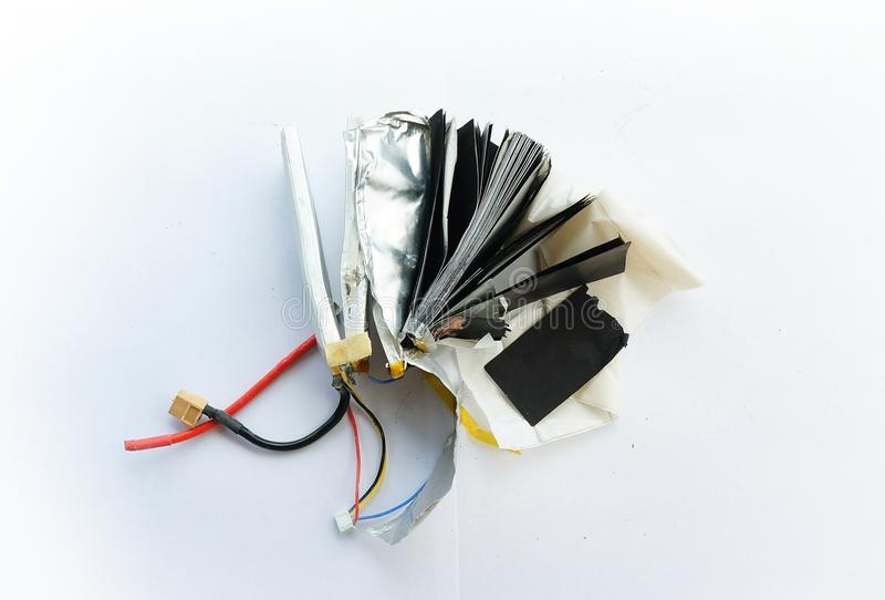 Inside the lithium polymer lipo battery. Close-up look at lithium polymer lipo battery stock image