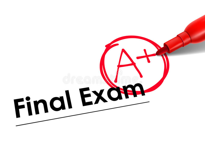 Close up look at A Plus on exam paper stock illustration