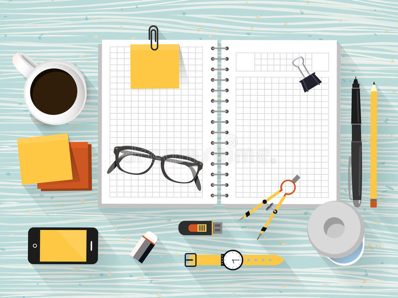 Close up look at workplace objects in flat design. Style royalty free illustration