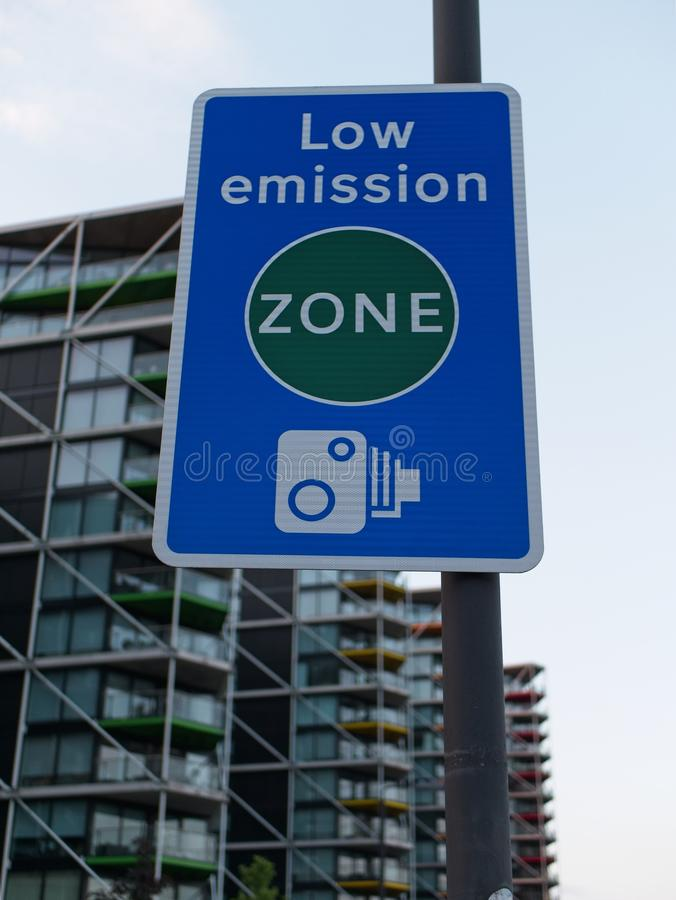 Low Emission Zone Traffic Sign. Close-up of Low Emission Zone Traffic sign with camera tutor for violations and fines in a city royalty free stock images