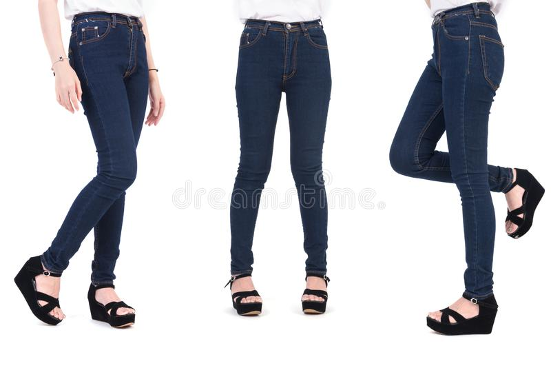 Close up lower body of beauty woman with fashion jeans and shoes. Trendy and New fashion concept. Isolated white background. stock image