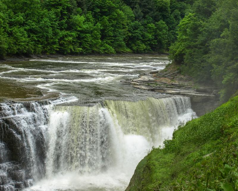 Close up of Lower falls of Letchwork in Genesee River, NY stock photography