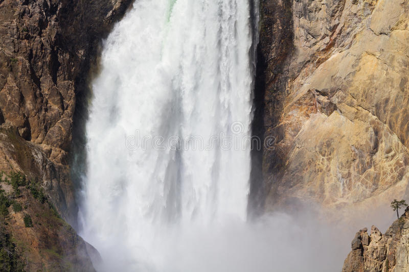 Close up of the Lower Falls of the Yellowstone river stock photos