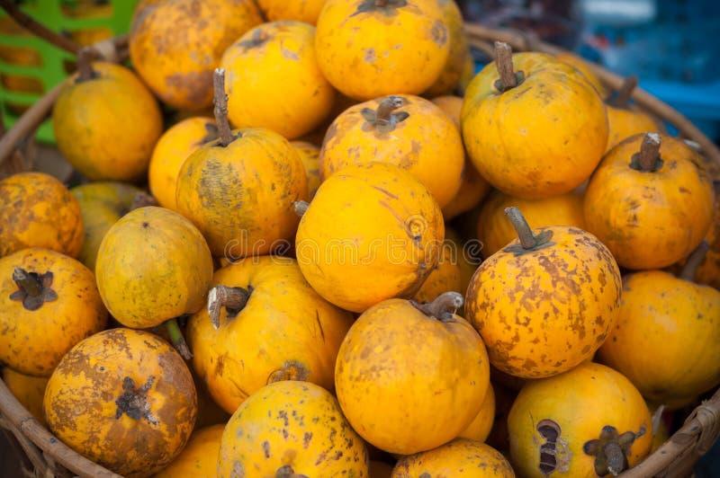Close up Lucuma ripe yellow group on basket market street fruit, Pouteria campechiana Kunth Baehni. Close up Lucuma ripe, yellow group on basket ,market street stock photos