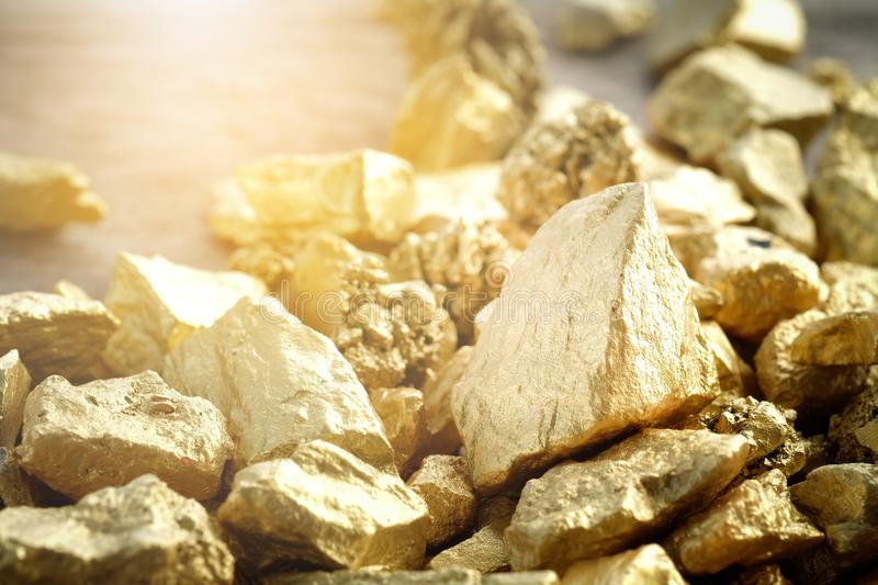 Close up lump of gold mine royalty free stock photography