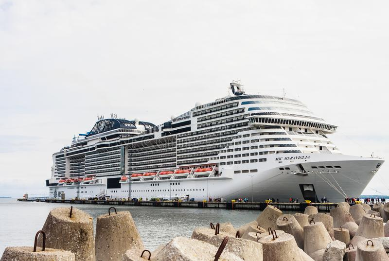 luxury cruise liner MSC Meraviglia, the name of the ship is written on the starboard side, Port of Tallinn. Estonia stock image