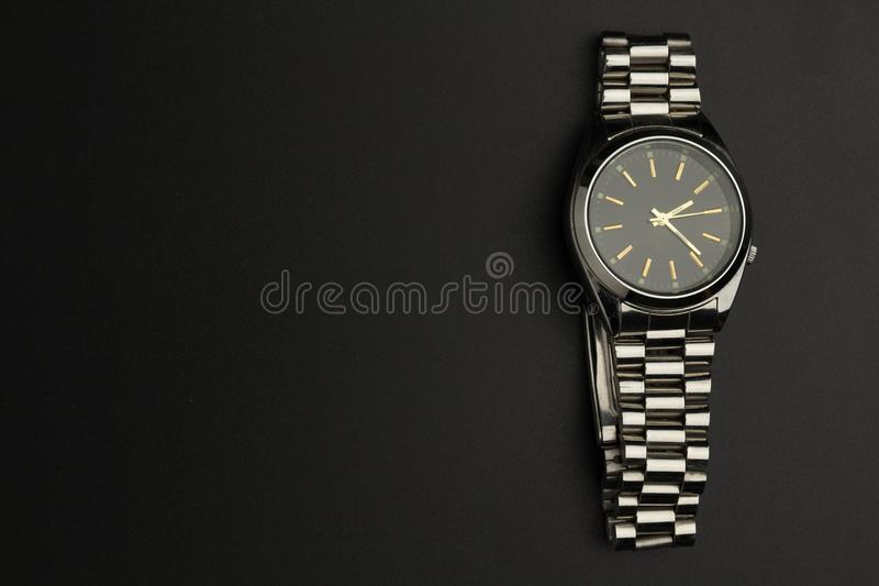 Close up luxury watch on black background royalty free stock photo
