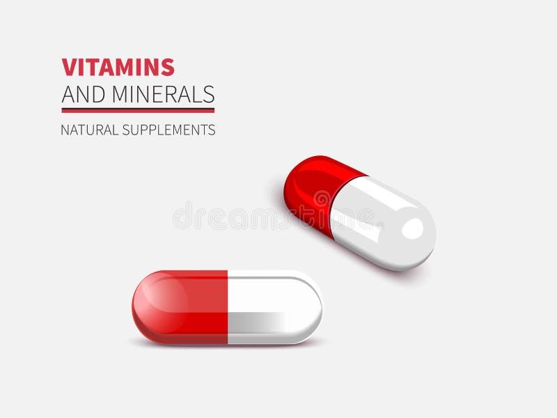 Close-up mágico do comprimido de duas cápsulas, tabuleta do vermelho da ilustração do vetor ilustração stock