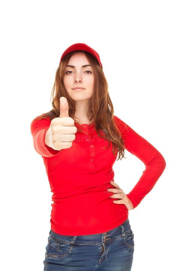 Close-up młoda kobieta pokazywać aprobaty zdjęcie stock