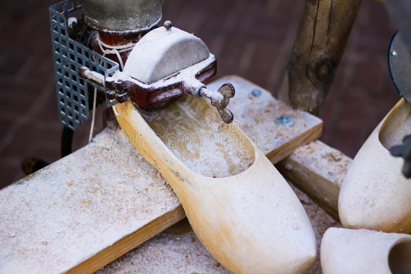 Close up of machine for wooden german clog production - Xanten, Germany stock photography