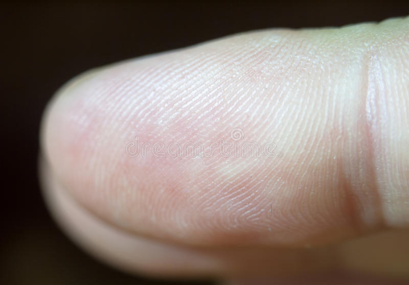 Close up macro detail of a finger tip and its print royalty free stock photo