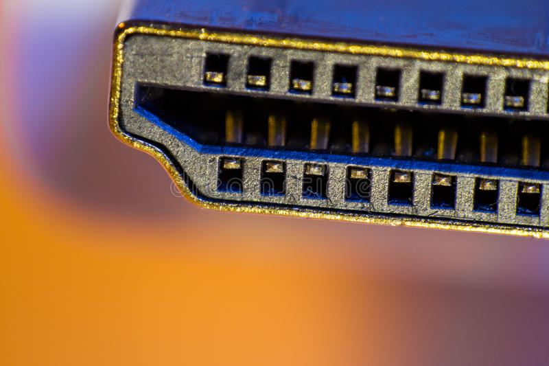 Close up macro do conector de cabo de HDMI fotografia de stock