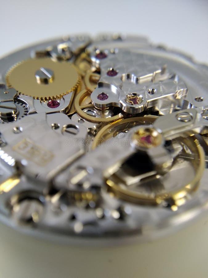 Close up macro pic of wath mechanism. Close-up second mechanical watch wheel stock photo
