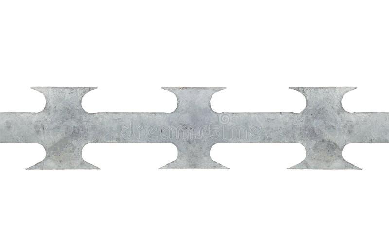 Close up macro sem emenda do fio farpado da lâmina da fita, cinza isolado imagens de stock royalty free