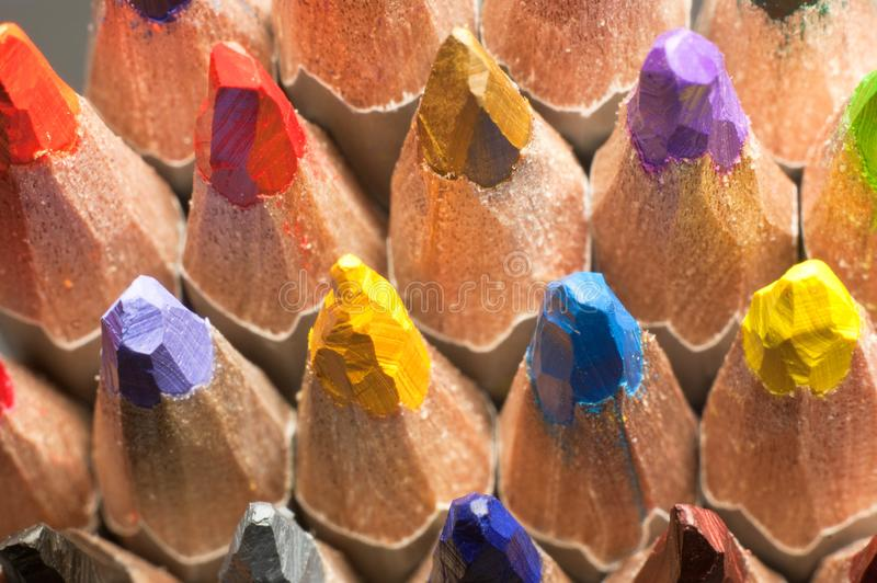Close up macro shot of color pencil pile pencil nibs royalty free stock image