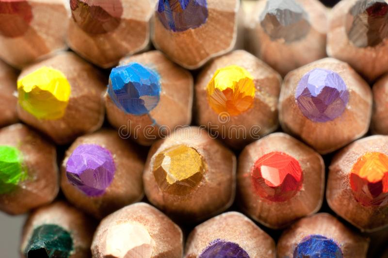 Close up macro shot of color pencil pile pencil nibs royalty free stock photos