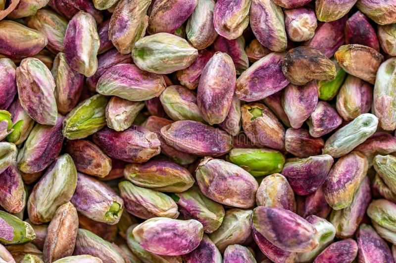 Close-up macro shot of roasted and shelled Australian pistachio nuts. These seeds have a mauve-colored skin and light green flesh and are widely considered to royalty free stock photography