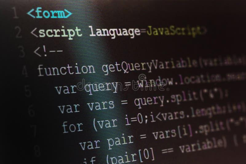 Close up macro shot selective focus of java script programming l stock images