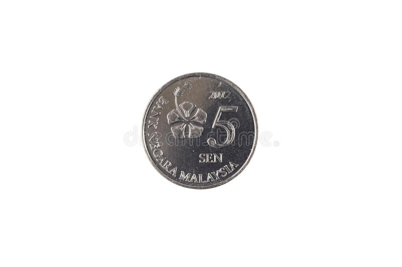 A silver Malaysian five sen coin isolated on a white background stock images