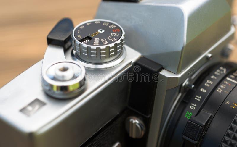 Vintage Manual Focus 35mm SLR Camera Wind Lever Viewfinder royalty free stock image