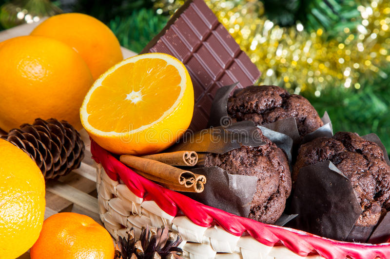 Close up maffins, oranges and chocolate royalty free stock photos