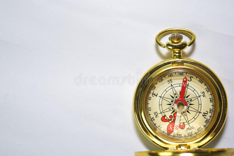 Close up magnetic golden compass isolated on white background royalty free stock photos