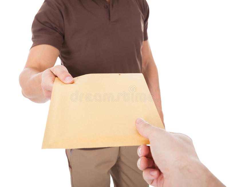 Close-up of mailman delivering mail to person. Over White Background stock images