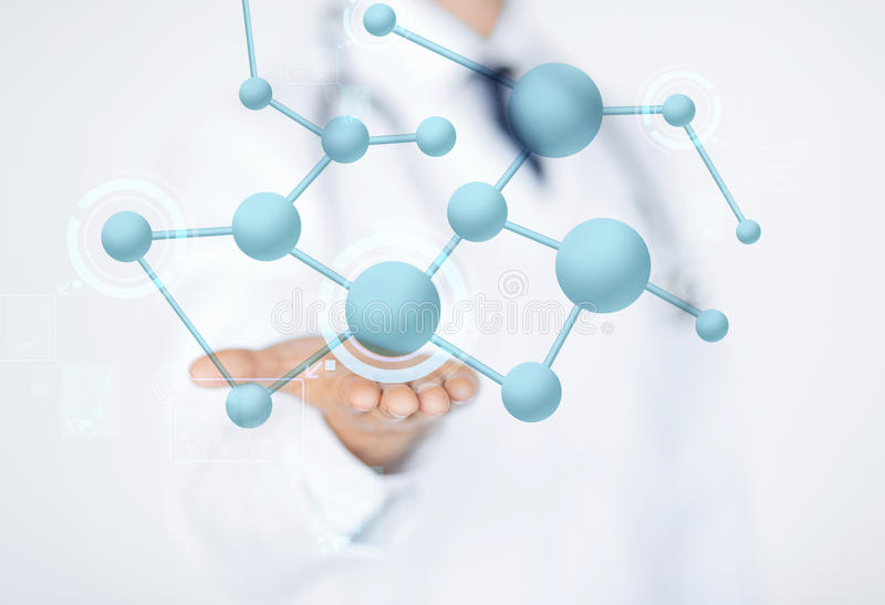 Close up of male doctor hand with molecules stock images