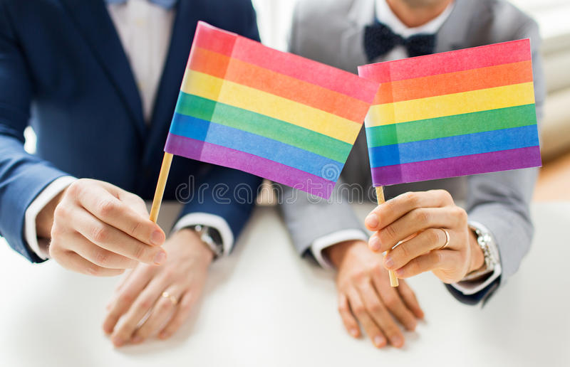 Close up of male gay couple holding rainbow flags. People, homosexuality, same-sex marriage and love concept - close up of happy male gay couple in suits and bow stock photo