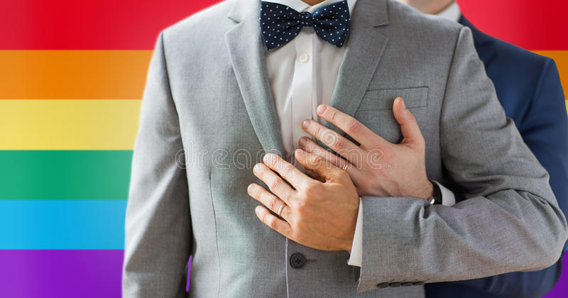 Close up of male gay couple with wedding rings on. People, celebration, homosexuality, same-sex marriage and love concept - close up of happy male gay couple royalty free stock photo