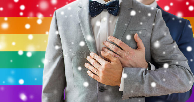 Close up of male gay couple with wedding rings on. People, celebration, homosexuality, same-sex marriage and love concept - close up of happy male gay couple royalty free stock photography