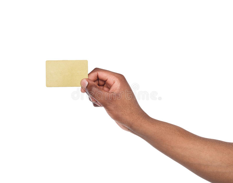Close-up of male hand holding blank plastic card stock photos