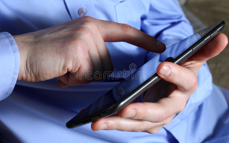 Male Hands With Tablet Stock Photo
