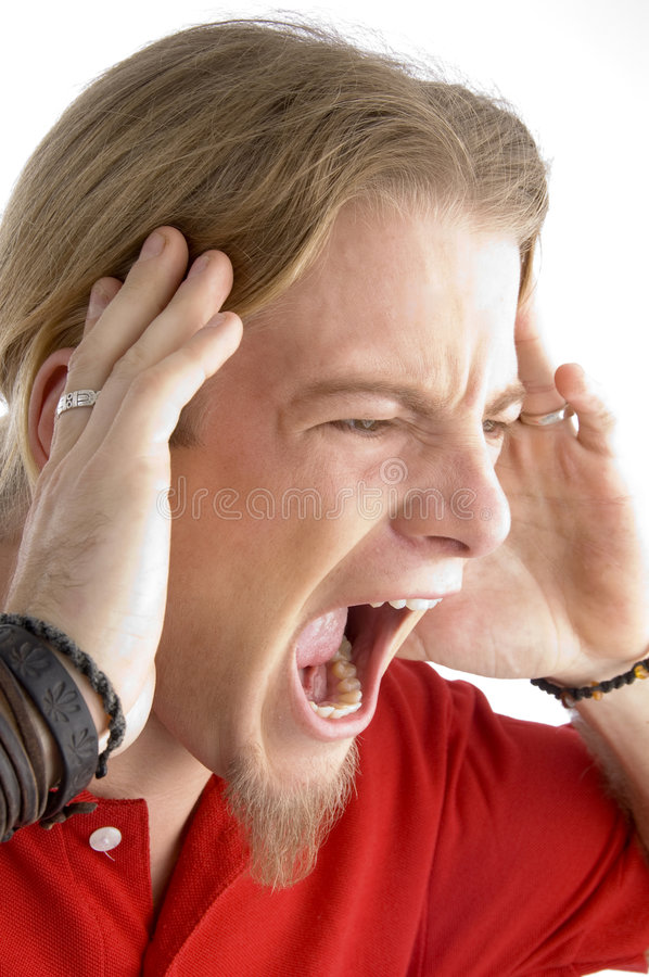 Close Up Of Male Shouting Loudly Stock Image