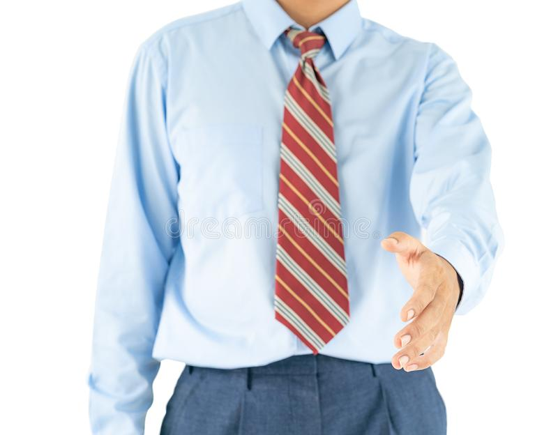 Male wearing blue shirt reaching hand out with clipping path. Close up, Male wearing blue shirt and red tie reaching hand out with clipping path royalty free stock photos