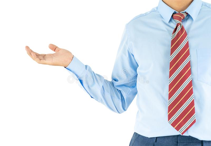Male wearing blue shirt reaching hand out with clipping path. Close up, Male wearing blue shirt and red tie reaching hand out with clipping path stock images